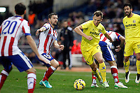 Juanfran Torres, Gabi and Arda Turan of Atletico de Madrid and Cheryshev of Villarreal during La Liga match between Atletico de Madrid and Villarreal at Vicente Calderon stadium in Madrid, Spain. December 14, 2014. (ALTERPHOTOS/Caro Marin) /NortePhoto