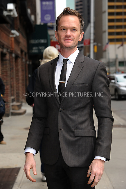 WWW.ACEPIXS.COM <br /> March 30, 2015 New York City<br /> <br /> Neil Patrick Harris arrives to tape an appearance on the Late Show with David Letterman on March 30, 2015 in New York City.<br /> <br /> Please byline: Kristin Callahan/ACE Pictures  <br /> <br /> ACEPIXS.COM<br /> Ace Pictures, Inc<br /> tel: (212) 243 8787 or (646) 769 0430<br /> e-mail: info@acepixs.com<br /> web: http://www.acepixs.com