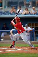 Palm Beach Cardinals Yariel Gonzalez (16) bats during a Florida State League game against the Charlotte Stone Crabs on April 14, 2019 at Charlotte Sports Park in Port Charlotte, Florida.  Palm Beach defeated Charlotte 5-3.  (Mike Janes/Four Seam Images)