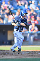 Asheville Tourists left fielder Eric Toole (14) swings at a pitch during a game against the Hagerstown Suns  at McCormick Field on May 13, 2017 in Asheville, North Carolina. The Suns defeated the Tourists 9-5. (Tony Farlow/Four Seam Images)
