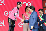 Race leader Simon Yates (GBR) Mitchelton-Scott retains the  Maglia Rosa at the end of Stage 18 of the 2018 Giro d'Italia, running 196km from Abbiategrasso to Prato Nevoso, Italy. 24th May 2018.<br /> Picture: LaPresse/Gian Mattia D'Alberto | Cyclefile<br /> <br /> <br /> All photos usage must carry mandatory copyright credit (&copy; Cyclefile | LaPresse/Gian Mattia D'Alberto)