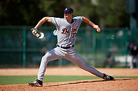Detroit Tigers pitcher Evan Hill (72) delivers a pitch during an Instructional League game against the Atlanta Braves on October 10, 2017 at the ESPN Wide World of Sports Complex in Orlando, Florida.  (Mike Janes/Four Seam Images)