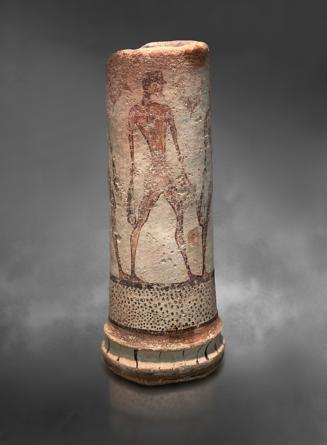 Cycladic cylindrical vase illustrated with a fisherman (1600 BC) , Phylakopi III, Melos. National Archaeological Museum Athens. Cat No 5782.  Gray background.<br /> <br /> <br /> The vase has a procession of 4 fishermen illustrated on iy running all the way round it.