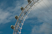 The London Eye on the Southbank of the River Thames in London.  Stands 135 metres tall and carries 3.5 million visitors each year.  Conceived and designed by David Marks & Julia Barfield, it took 7 years to design & build and involved products made by specialists in 5 countries.   It was originally sponsored by British Airways, who ran it from 2000 until 2005, when it was known as the Millenium Wheel.