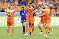 Houston, TX - Saturday June 17, 2017: Janine van Wyk congratulates Poliana on her goal  during a regular season National Women's Soccer League (NWSL) match between the Houston Dash and the Orlando Pride at BBVA Compass Stadium.