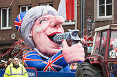 Düsseldorf, Germany. 27 February 2017. Theresa May shooting herself in the mouth over Brexit. Carnival parade on Shrove Monday (Rosenmontag) in Düsseldorf, North Rhine-Westphalia, Germany.