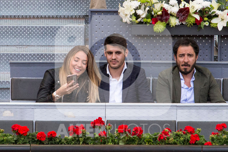 Alvaro Morata and his grirlfriend, Alice Campello during the Mutua Madrid Open Tennis 2017 at Caja Magica in Madrid, May 12, 2017. Spain.