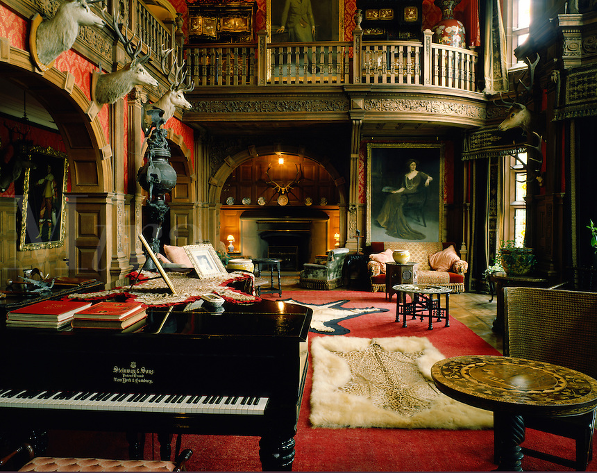 The Great Hall, Kinloch Castle, island of Rum, Inner Hebrides, western Scotland.