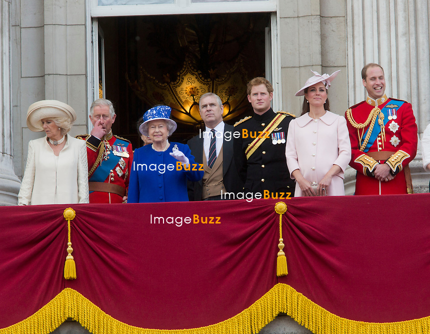 TROOPING THE COLOUR 2013  - London, June 15, 2013. The Queen attended the annual parade but her husband, the Duke of Edinburgh, missed the event as he remained in hospital recovering from surgery.<br /> It ended with a 41-gun salute and RAF flypast, watched by the Royal Family from the balcony of Buckingham Palace.