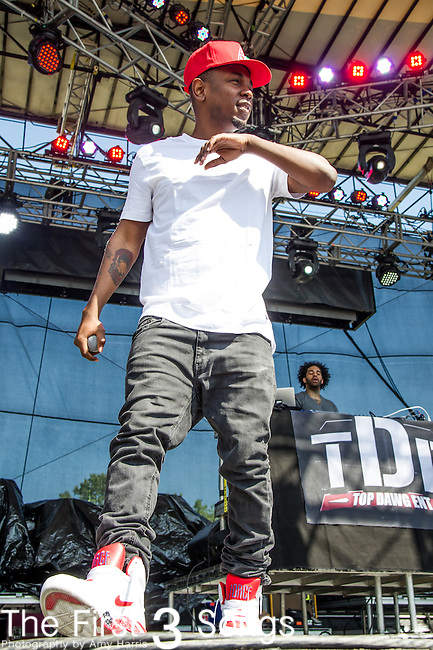 Kendrick Lamar performs during Day 2 of the 2013 Firefly Music Festival in Dover, Delaware.