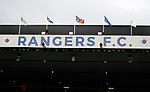 14.09.2019 Rangers v Livingston: Abseilers descend from the roof of the Govan Stand