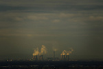 © Joel Goodman - 07973 332324 . 07/12/2013 . Fiddlers Ferry coal fired and biomass power station in Cuerdley , Cheshire , as viewed from Manchester . Photo credit : Joel Goodman