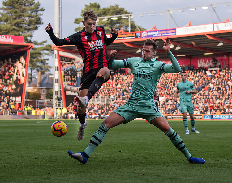 Bournemouth's David Brooks (left) is tackled by Arsenal's Rob Holding (right) <br /> <br /> Photographer David Horton/CameraSport<br /> <br /> The Premier League - Bournemouth v Arsenal - Sunday 25th November 2018 - Vitality Stadium - Bournemouth<br /> <br /> World Copyright © 2018 CameraSport. All rights reserved. 43 Linden Ave. Countesthorpe. Leicester. England. LE8 5PG - Tel: +44 (0) 116 277 4147 - admin@camerasport.com - www.camerasport.com