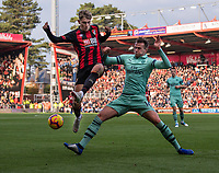 Bournemouth's David Brooks (left) is tackled by Arsenal's Rob Holding (right) <br /> <br /> Photographer David Horton/CameraSport<br /> <br /> The Premier League - Bournemouth v Arsenal - Sunday 25th November 2018 - Vitality Stadium - Bournemouth<br /> <br /> World Copyright &copy; 2018 CameraSport. All rights reserved. 43 Linden Ave. Countesthorpe. Leicester. England. LE8 5PG - Tel: +44 (0) 116 277 4147 - admin@camerasport.com - www.camerasport.com