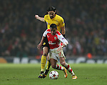 Arsenal's Alexis Sanchez tussles with Dortmund's Neven Subotic<br /> <br /> UEFA Champions League- Arsenal vs Borussia Dortmund- Emirates Stadium - England - 26th November 2014 - Picture David Klein/Sportimage