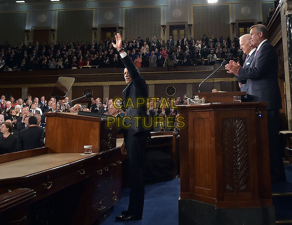 US President Barack Obama waves as he arrives to deliver the State of The Union address on January 20, 2015, at the US Capitol in Washington, DC.  <br /> CAP/MPI/MAN<br /> &copy;MAN/MPI/Capital Pictures