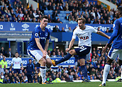 9th September 2017, Goodison Park, Liverpool, England; EPL Premier League Football, Everton versus Tottenham; Harry Kane of Tottenham fires a left footed shot past Michael Keane of Everton