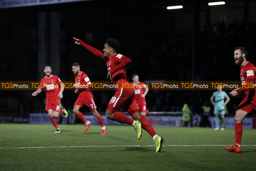 O's Josh Koroma scores and celebrates during Leyton Orient vs Gateshead, Vanarama National League Football at The Breyer Group Stadium on 1st December 2018
