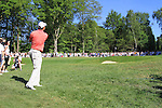 Padraig Harringotn  playing his 3rd shot from the rough.during round three of the BMW PGA championship 2010 at Wentworth golf club, Surrey England..Picture Fran Caffrey/Newsfile.ie