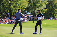 Raffa Cabrera-Bello (Team Europe) wins his match against Jimmy Walker (Team USA) during Sunday Singles matches at the Ryder Cup, Hazeltine National Golf Club, Chaska, Minnesota, USA. 02/10/2016<br /> Picture: Golffile | Fran Caffrey<br /> <br /> <br /> All photo usage must carry mandatory copyright credit (&copy; Golffile | Fran Caffrey)