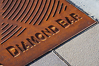 "Iron tree grates form the base of most of the trees planted for the Grand Avenue Beautification project.  This is a detail shot showing the""Diamond Bar"" text that's on each grate.  This was part of the 2015 rebuild of the Grand Avenue and Diamond Bar Boulevard intersection for Diamond Bar's 2015 ""Grand Avenue Beautification"" project, landscape architecture for the project was by David Volz Design."