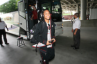 SAN ANTONIO, TX - APRIL 4:  Melanie Murphy gets off the bus at the Alamo Dome before Stanford's 73-66 win over Oklahoma in the Final Four semi-finals at the Alamo Dome on April 4, 2010 in San Antonio, Texas.