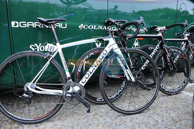 Team Europcar Colnago C60 and Prestige bikes lined up at the team bus in Compiegne for the 112th edition of the 257 km Paris-Roubaix cycle race held over the cobbled roads of Northern France. 13th April 2014.<br /> Picture: Eoin Clarke www.newsfile.ie