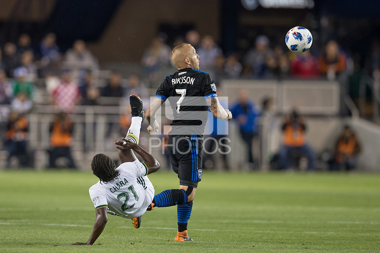 Santa Clara, CA - Saturday, May 5, 2018: San Jose Earthquakes lost to Portland 1-0 at the Avaya Stadium in Santa Clara.