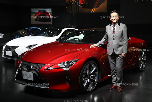"March 16, 2017, Tokyo, Japan - Toyota Motor's luxury car brand Lexus International president Tokuo Fukuichi displays the company's flagship coupe ""Lexus LC"" with price from 13 million yen (115,000 US dollars) in Tokyo on Thursday, March 16, 2017. The Lexus LC has V8 5.0-litter or V6 3.5-litter hybrid engine to drive rear wheels.    (Photo by Yoshio Tsunoda/AFLO) LwX -ytd-"