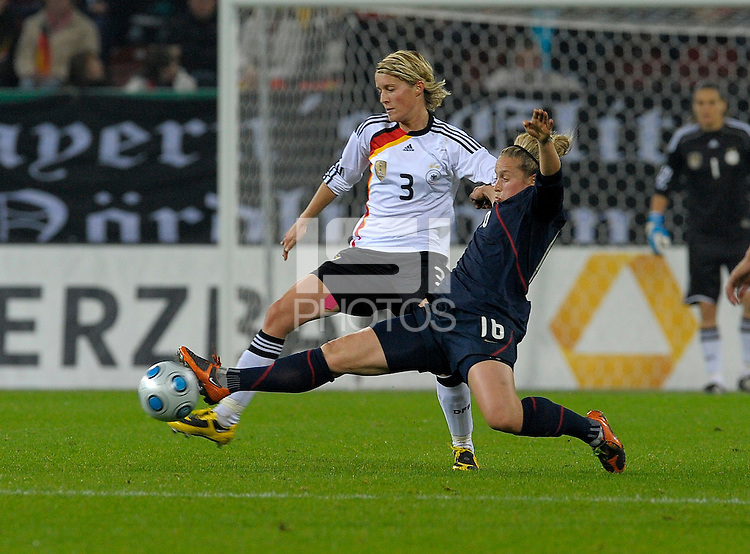 Ella Massar extends against Sakia Bartusiak US Women's National Team defeated Germany 1-0 at Impuls Arena in Augsburg, Germany on October 29, 2009.