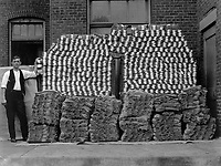 Manufacturing heavy wool socks for the Government at Chipman Knitting Mills, Easton, Pa.  The finished product, a pile of 84 needle heavy wool socks.  Ca. 1918. Chipman Knitting Mills.  (War Dept.)<br />