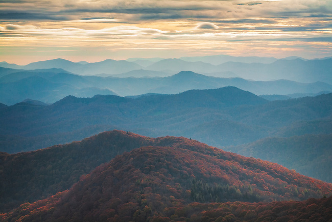Autumn vista to the Cowee Mountains, as viewed from the Blue Ridge Parkway, Nantahala National Forest