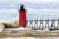 64795-02319 South Haven Lighthouse with high waves crashing South Haven,  MI