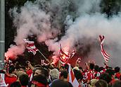 June 4th 2017, Estadi Montilivi,  Girona, Catalonia, Spain; Spanish Segunda División Football, Girona versus Zaragoza; Girona fans with flags and flares pre-game