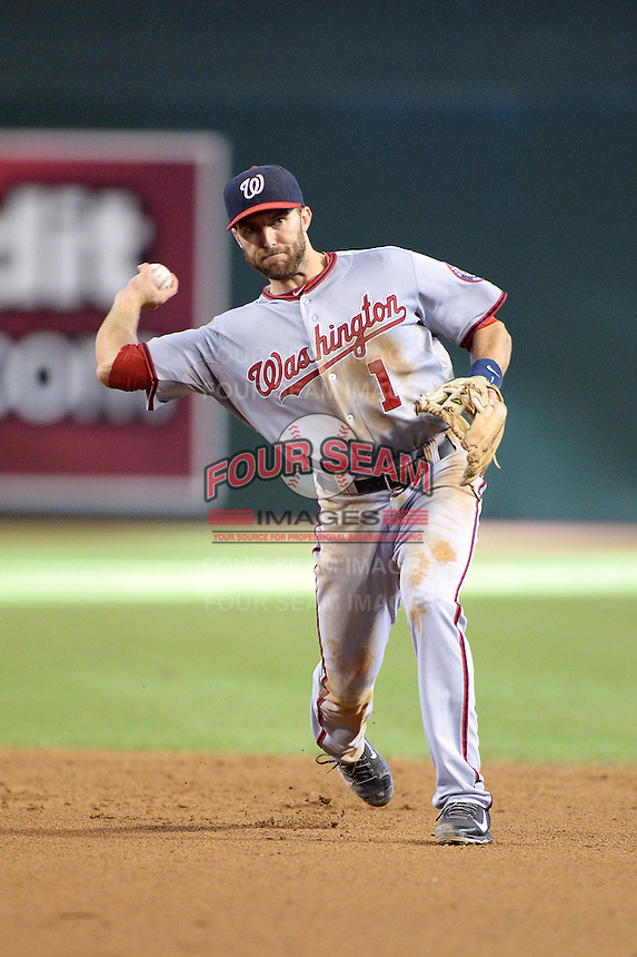 Washington Nationals second baseman Steve Lombardozzi (1) during a game against the Arizona Diamondbacks at Chase Field on September 29, 2013 in Phoenix, Arizona.  Arizona defeated Washington 3-2.  (Mike Janes/Four Seam Images)
