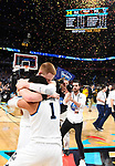 SAN ANTONIO, TX - APRIL 02: Jalen Brunson #1 and Donte DiVincenzo #10 of the Villanova Wildcats celebrate after the 2018 NCAA Men's Final Four National Championship game against the Michigan Wolverines at the Alamodome on April 2, 2018 in San Antonio, Texas.  (Photo by Brett Wilhelm/NCAA Photos via Getty Images)