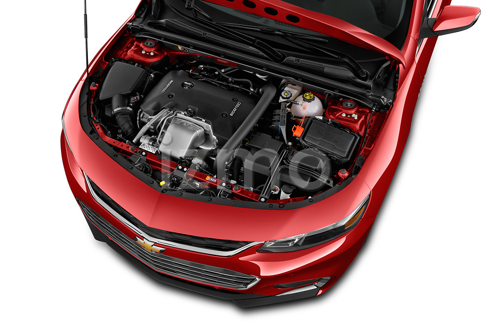Car stock 2018 Chevrolet Malibu Premier 4 Door Sedan engine high angle detail view