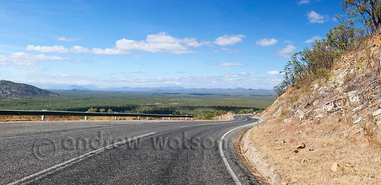 View along Peninsula Development Road at Desailly Range lookout, near Cooktown, Queensland, Australia