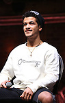 Jordan Fisher during the Q & A for The Rockefeller Foundation and The Gilder Lehrman Institute of American History sponsored High School student #EduHam matinee performance of 'Hamilton' at the Richard Rodgers Theatre on 2/15/2017 in New York City.