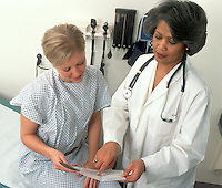 A patient consults with physician in the doctor's office. Women's health.