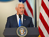 United States Vice President Mike Pence makes remarks in his capacity as Chairman at the first meeting of the Presidential Advisory Commission on Election Integrity at The White House in Washington, DC, July 19, 2017. <br /> Credit: Chris Kleponis / CNP