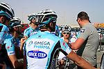 Omega Pharma-Quick Step team talk before the 2nd Stage of the 2012 Tour of Qatar a team tme trial at Lusail Circuit, Doha, Qatar, 6th February 2012 (Photo Eoin Clarke/Newsfile)