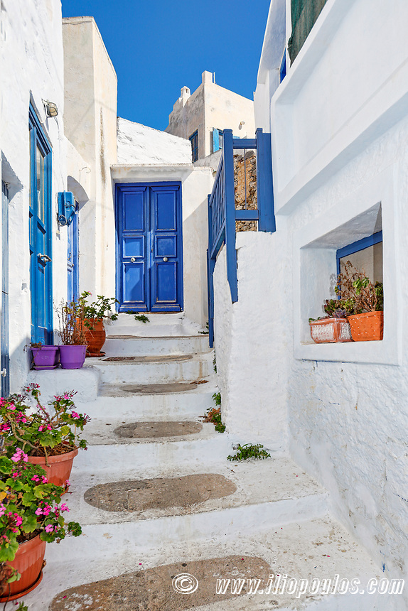 The streets of Chora in Amorgos island, Greece