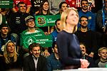 07.01.2018, Deutsches Fu&szlig;ballmuseum, Dortmund, GER, Auslosung DFB Pokal Viertelfinale, , <br /> <br /> im Bild | picture shows<br /> Jessy Willmer (Moderatorin) im Vordergrund mit Fans auf der Trib&uuml;ne, <br /> <br /> Foto &copy; nordphoto / Rauch