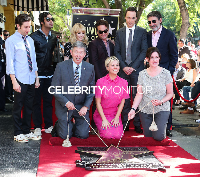 HOLLYWOOD, LOS ANGELES, CA, USA - OCTOBER 29: Simon Helberg, Kunal Nayyar, Leron Gruber, Melissa Rauch, Johnny Galecki, Kaley Cuoco, Jim Parsons, Chuck Lorre at the ceremony honoring Kaley Cuoco with a star in the Hollywood Walk Of Fame on October 29, 2014 in Hollywood, Los Angeles, California, United States. (Photo by Xavier Collin/Celebrity Monitor)