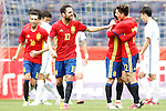 Spain's Bruno Soriano, Cesc Fabregas, David Jimenez Silva and Hector Bellerin celebrate goal during friendly match. June 1,2016.(ALTERPHOTOS/Acero)