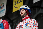 Polka Dot Jersey Jonathan Hivert (FRA) Total Direct Energie at sign on before Stage 3 of the 78th edition of Paris-Nice 2020, running 212.5km from Chalette-sur-Loing to La Chatre, France. 10th March 2020.<br /> Picture: ASO/Fabien Boukla | Cyclefile<br /> All photos usage must carry mandatory copyright credit (© Cyclefile | ASO/Fabien Boukla)