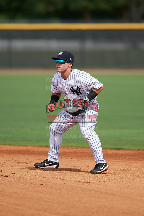 GCL Yankees East second baseman Jose Carrera (2) during the first game of a doubleheader against the GCL Blue Jays on July 24, 2017 at the Yankees Minor League Complex in Tampa, Florida.  GCL Blue Jays defeated the GCL Yankees East 6-3 in a game that originally started on July 8th.  (Mike Janes/Four Seam Images)