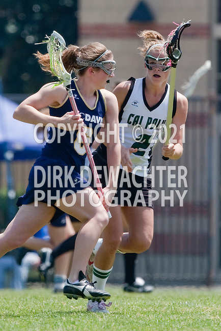 Los Angeles, CA 04/18/10 - Katie Marker (UC Davis # 6) and Megan Michels (Cal Poly #2) in action during the 2010 Western Women Lacrosse League Championship game between UC Davis and Cal Poly SLO for third place, hosted by UCLA.  UC Davis edged Cal Poly SLO 8-7 in overtime.
