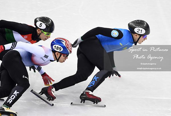 Denis Nikisha (KAZ, 21), Hyojun Lim (KOR, 189) and Shaoang Liu (HUN). Short track. Gangneung ice arena. Pyeongchang2018 winter Olympics. Gangneung. Republic of Korea. 10/02/2018. ~ MANDATORY CREDIT Garry Bowden/SIPPA - NO UNAUTHORISED USE - +44 7837 394578